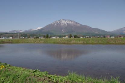 残雪の残る黒姫山。左側に少し見えているのは、戸隠連峰です。